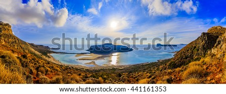 Amazing panorama of Balos Lagoon and Gramvousa island on Crete, Greece - stock photo