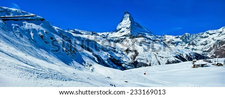 Amazing panorama on Matterhorn in Swiss Alps. - stock photo
