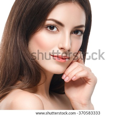Amazing portrait of a beautiful young woman with perfect skin closeup - stock photo