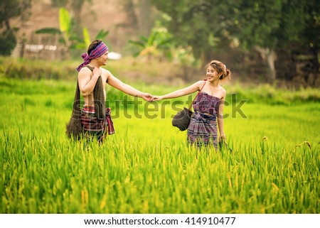 Amazing Pre Wedding Couple Thailand in the rice fields. - stock photo