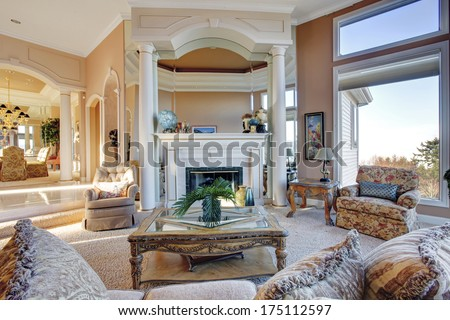 Amazing rich interior with antique furniture  - stock photo
