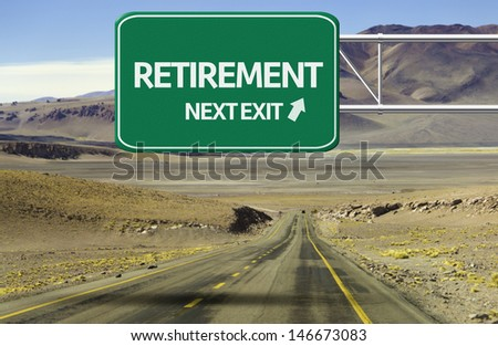 Amazing Road with a creative sign with the text - Retirement, Next Exit  - stock photo