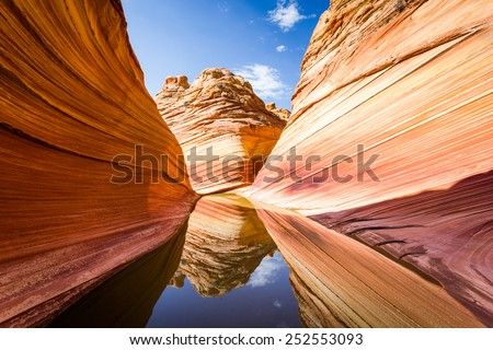 Amazing rock formation in Arizona, The Wave. Parya Canyon Vermillion Cliffs, Coyote Buttes Wilderness - stock photo