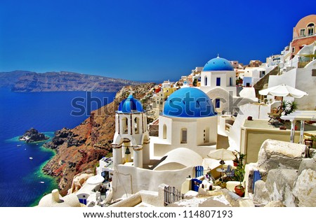 amazing Santorini - travel in Greek islands series - stock photo