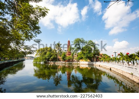 Amazing scenery in TranQuoc pagoda. a famous tourist destination in hanoi, vietnam - stock photo