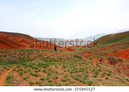 Amazing scenic orange hills, screes of sandstone, lonely tourist, canyon Uchterek, Kyrgyzstan. - stock photo