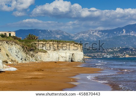 amazing seascape of Xi Beach,beach with red sand in Kefalonia, Ionian islands, Greece - stock photo