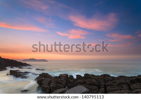 Amazing seascape sunset, Sonabia, Cantabria, Spain - stock photo