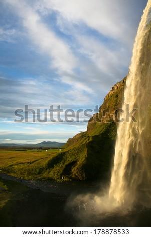 amazing Seljalandsfoss waterfall in Iceland - stock photo
