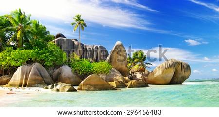 amazing Seychelles islands - stock photo