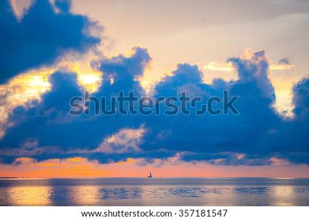 Amazing sky and water at sunset over Baltic sea, Tallinn, Estonia - stock photo