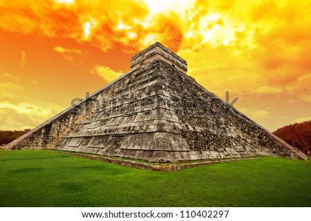 Amazing sky over Kukulkan pyramid in Chichen Itza, Mexico - stock photo