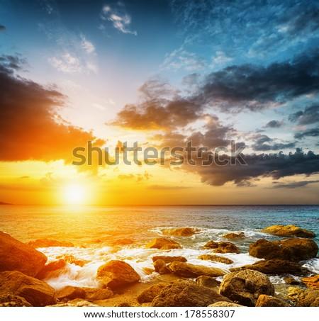 Amazing sky over the sea. Sunset landscape. - stock photo