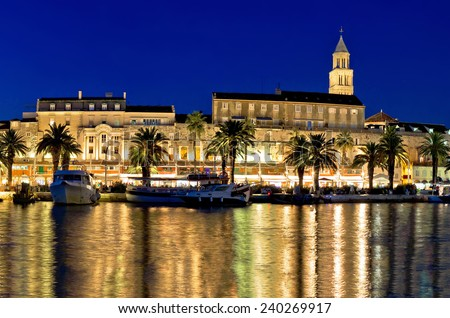Amazing Split waterfront evening panorama, Dalmatia, Croatia - stock photo