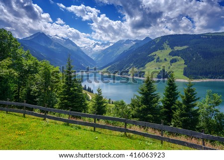 Amazing summer morning on the fantastic Speicher Durlassboden lake. Alps, Austria, Europe. - stock photo