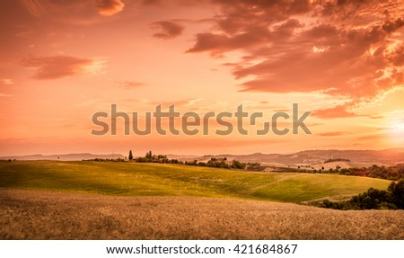 Amazing sunset and beautiful sky in Tuscany, Italy - stock photo