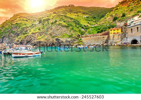 Amazing sunset and fishing harbor with boats,Vernazza village,Cinque Terre,Italy,Europe - stock photo