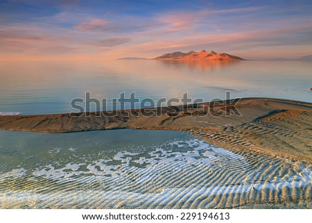 Amazing sunset at the Great Salt Lake, Utah, USA. - stock photo
