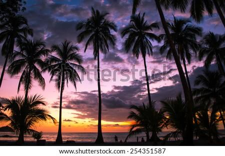 Amazing sunset over Manuel Antonio Public Beach in Puntarenas, Costa Rica - stock photo