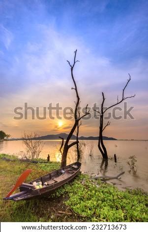 Amazing sunset over the Lake - stock photo
