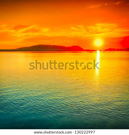 Amazing sunset over the sea. - stock photo