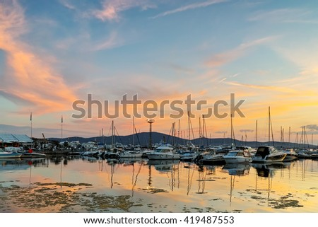 Amazing sunset seascape at the port of Sozopol, Burgas Region, Bulgaria - stock photo