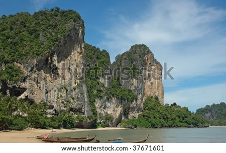 Amazing Thailand! Krabi province. Rocks by the sea. - stock photo