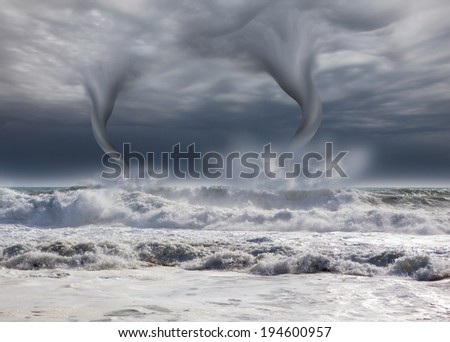 amazing tornado with dark sky  - stock photo
