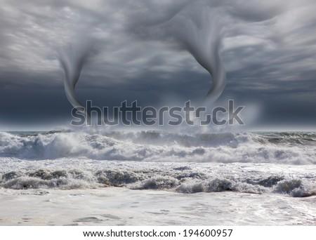 amazing tornado with dark sky  - stock photo