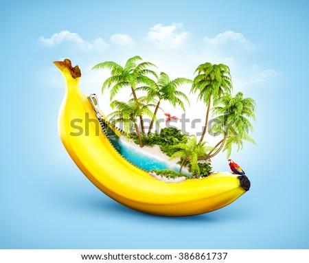 Amazing tropical beach with palms inside banana. Unusual travel illustrtion - stock photo