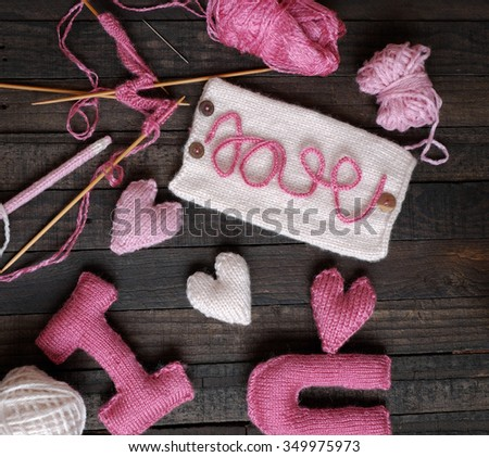 Amazing valentine background in pink colour, symbol of heart, i love you message, rose flower, all gift make handmade, knit from yarn, Valentines day on feb 14 is romantic day for love - stock photo