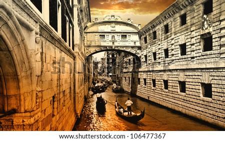 amazing Venice on sunset. bridge of sights - stock photo