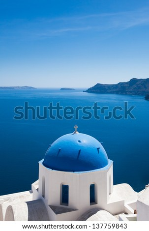 Amazing view from the cliffs of Santorini - stock photo