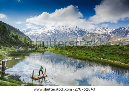 Amazing view from touristic trail near the Matterhorn in the Swiss Alps  - stock photo