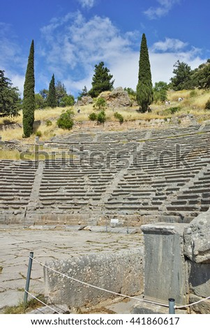 Amazing view of Amphitheater in Ancient Greek archaeological site of Delphi,Central Greece - stock photo