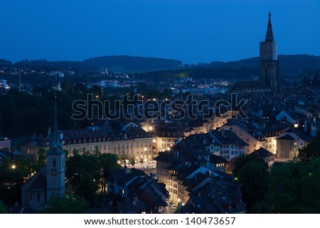 Amazing view of Bern in the night, Switzerland - stock photo