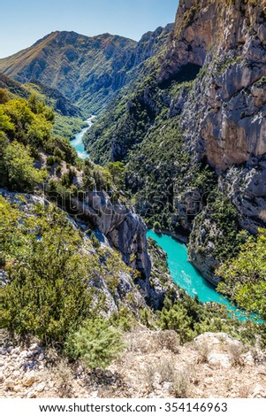 Amazing View Of The Gorges Du Verdon Canyon Between Two Steep Limestone Cliffs-Alpes de Haute Provence,France - stock photo