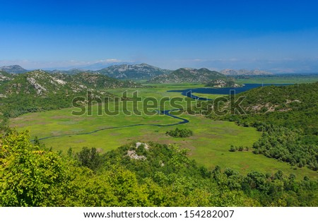Amazing view of the river in Skadar lake national park, Montenegro  - stock photo
