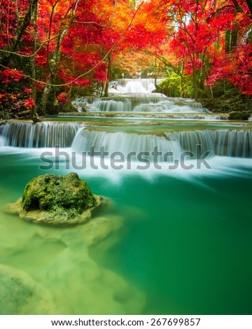 Amazing waterfall in colorful forest  - stock photo