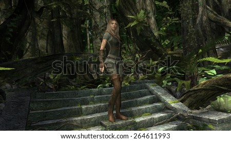 Amazon female warrior on old stairs in the jungle - stock photo