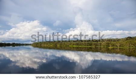 Amazon Landscape with Reflections - stock photo
