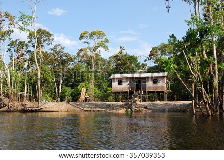 Amazon rainforest: Expedition by boat along the Amazon River near Manaus, Brazil - stock photo