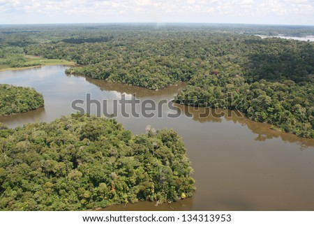 Amazon river, Peru, amazon jungle - stock photo