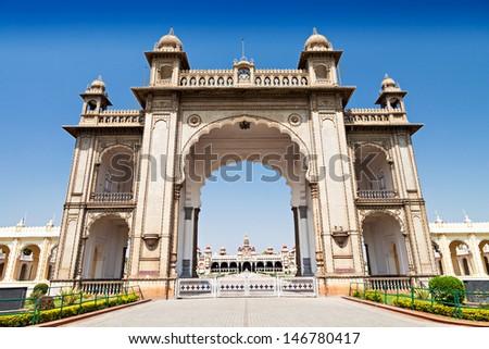 Amba Vilas Mysore Palace in Mysore, India - stock photo
