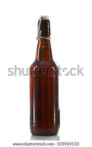 amber flip top beer bottle - stock photo