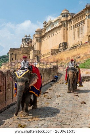 AMBER FORT, INDIA - SEPTEMBER 14, 2014: Elephant driver on a cobbled street at Amber Fort - stock photo