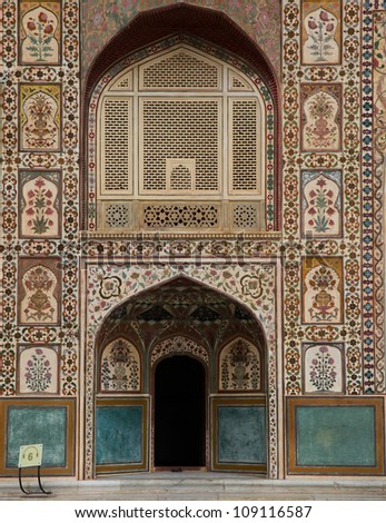Amber Fort near Jaipur city in India. Rajasthan - stock photo