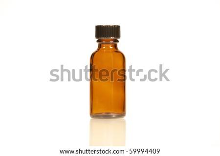 Amber Glass Bottle - stock photo