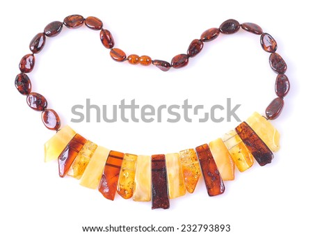 amber necklace isolated on white  - stock photo