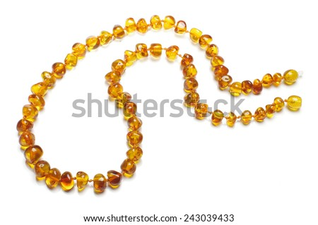 Amber necklace top view - stock photo